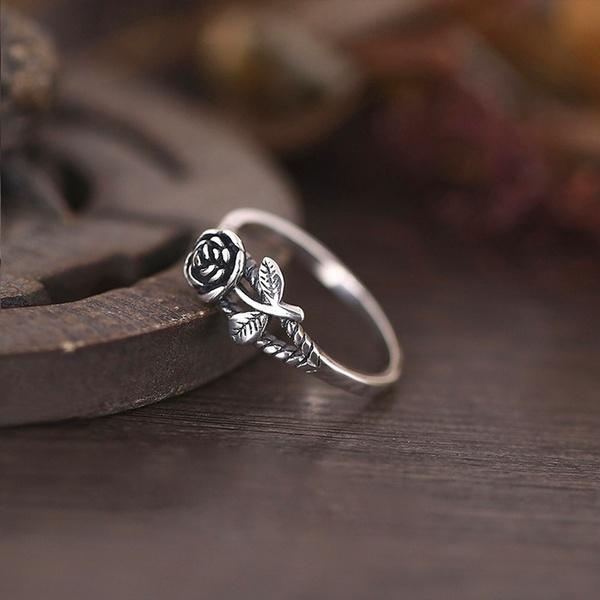 Women 925 Sterling Silver Vintage 3d Rose Ring Courtship