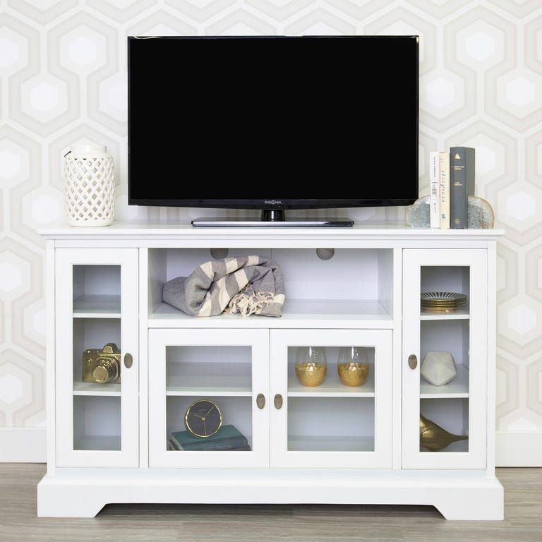 52 White Highboy Tall Tv Stand In 2020 White Tv Stands Tall Tv Stands Tv Media Stands