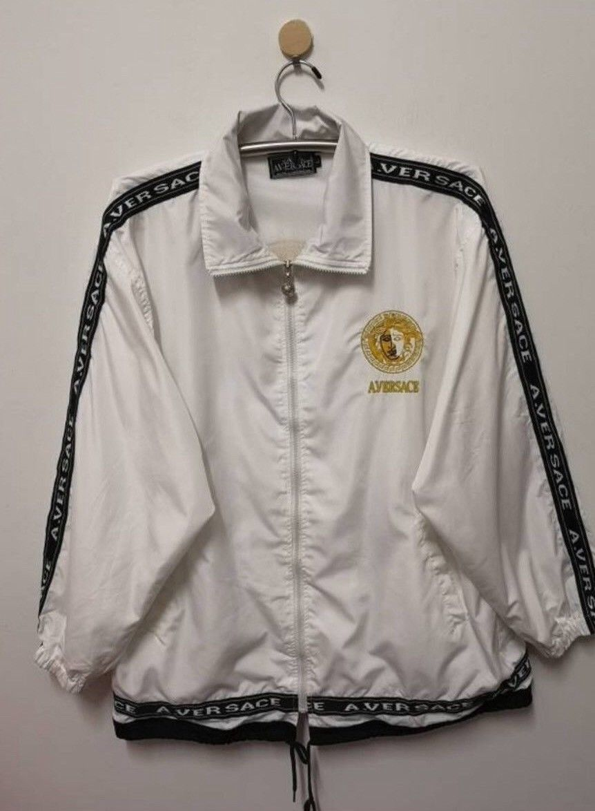 66ed0cd50 380.00 | A Versace Jacket Medusa Embroidery Gold Logo Spell Out Side Tape  Men L ❤ #versace #jacket #medusa #embroidery #gold #logo #spell #side #tape  #food ...