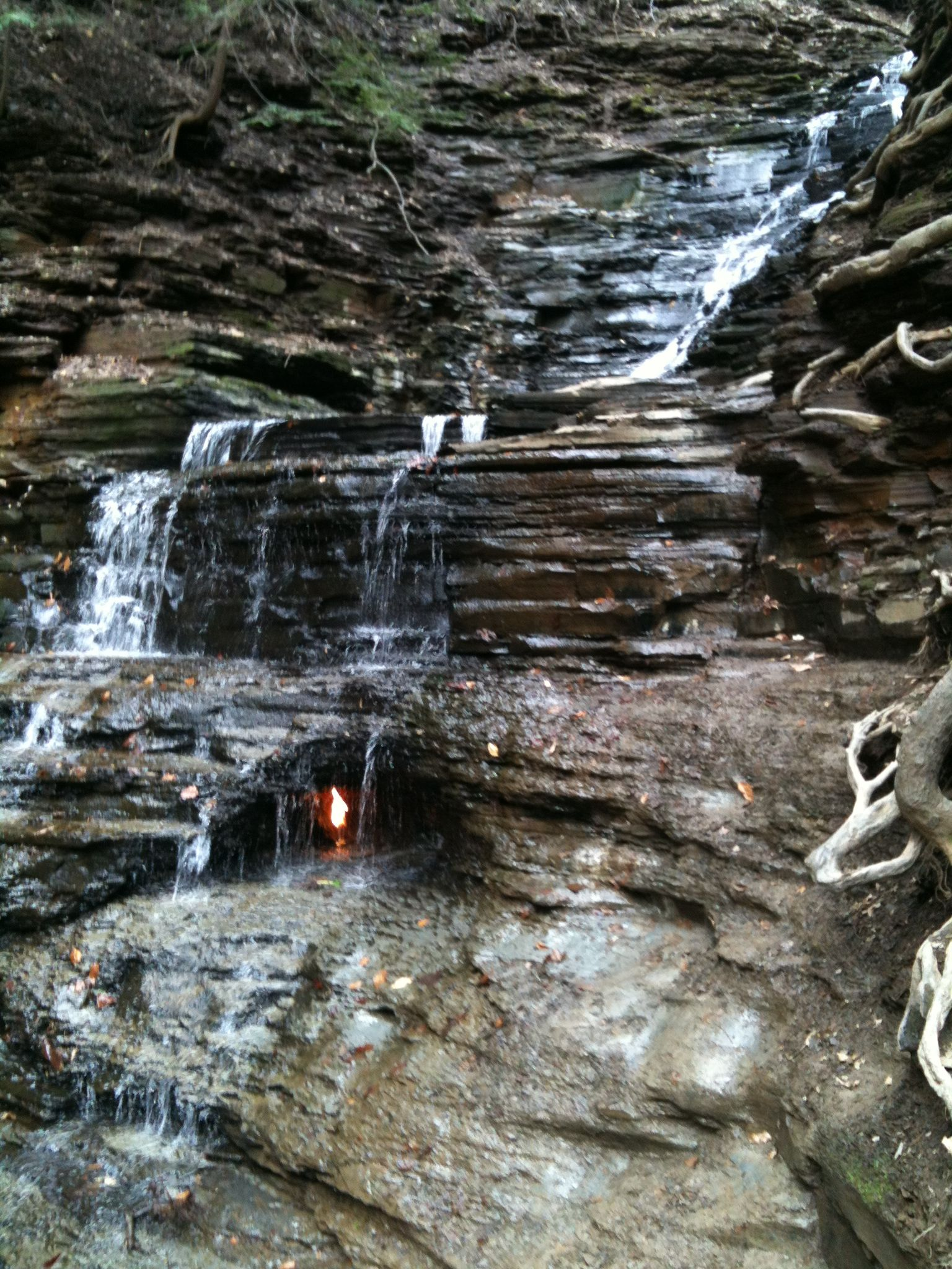 eternal flame  gaslight falls in chestnut ridge park  orchard park  ny