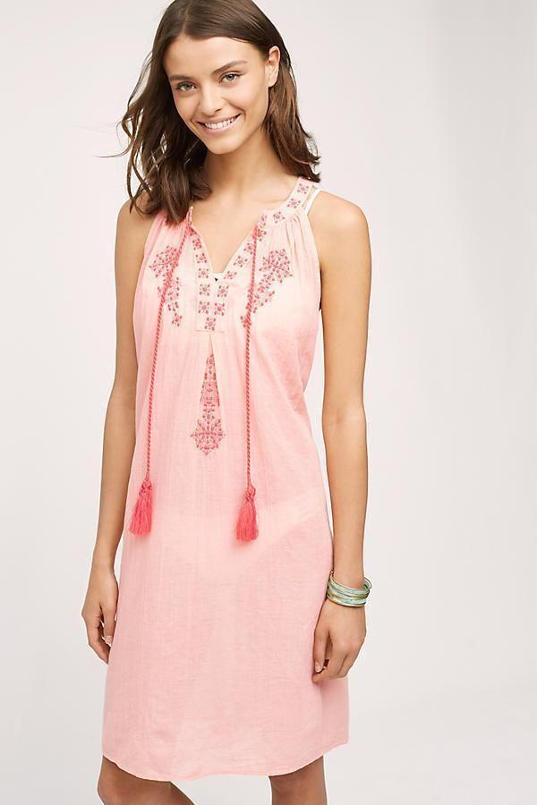 NEW ANTHROPOLOGIE Desert Rose Beach Dress Peach Embroidered Coverup ...