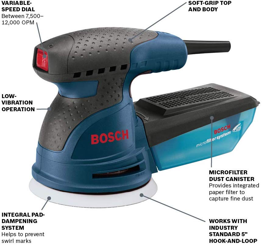 The Bosch Ros20vsc 5 Random Orbit Sander Polisher Furnishes An Optimized Combination Of Pad Orbit And Rotation That Deliv Bosch Dust Collector Diy Woodworking