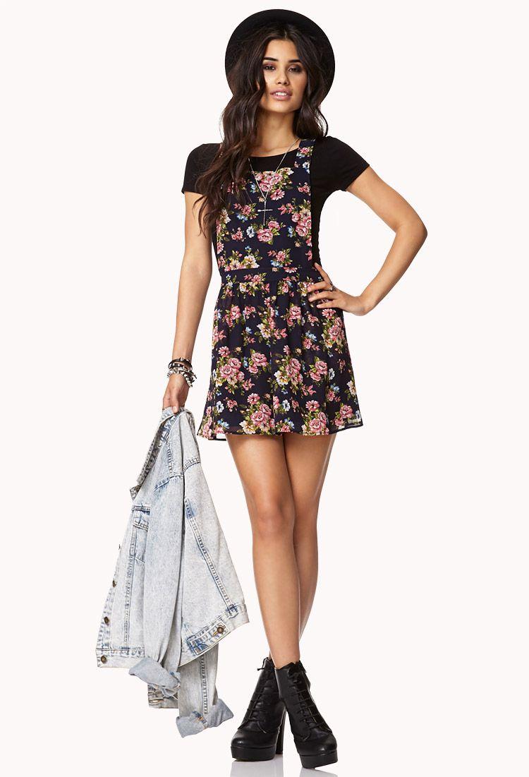 1de7d3c08d82 Garden Flower Overall Dress | FOREVER21 So not over overalls #Floral  #Overalls #Dress