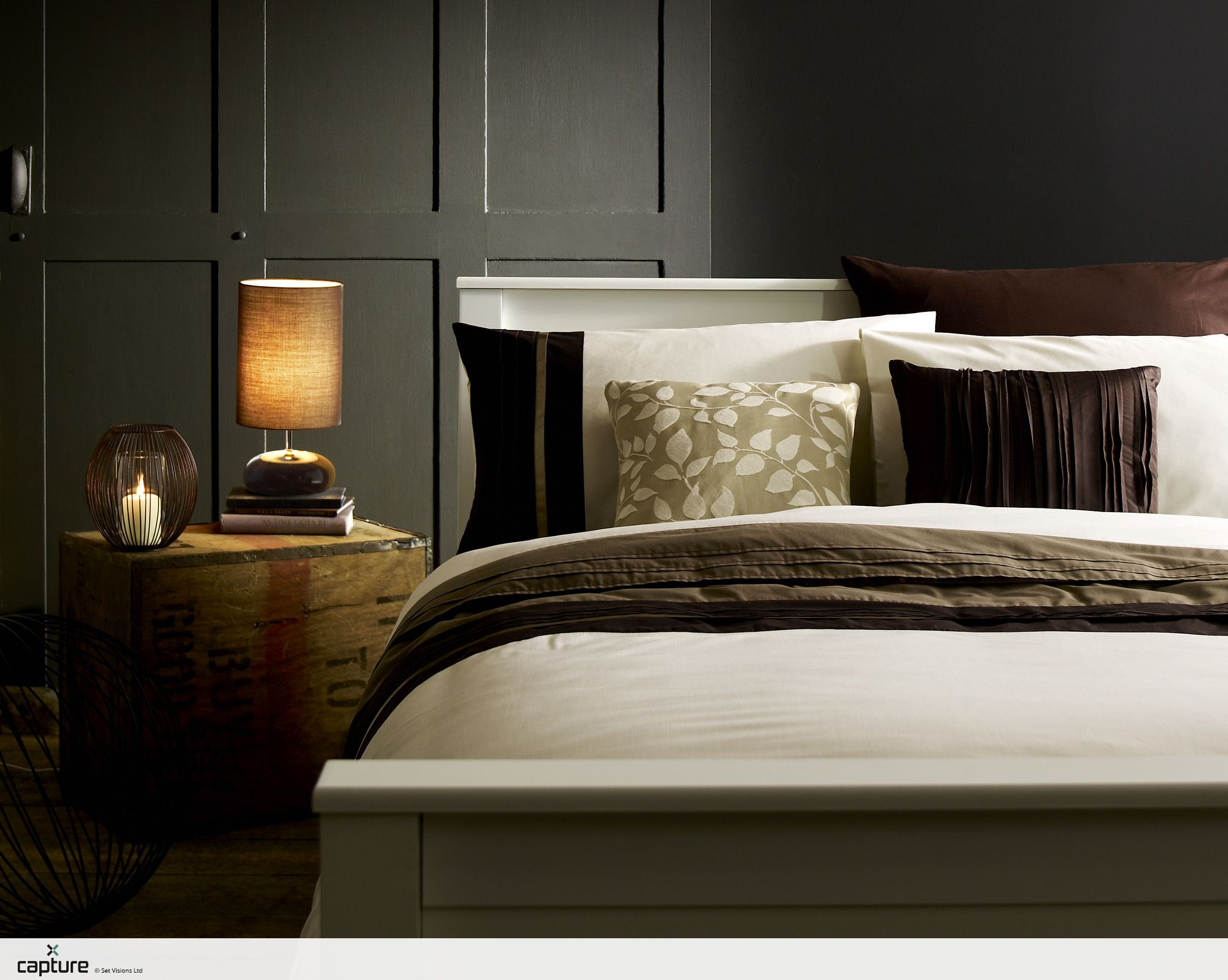 intimate bedroom lighting. Industrial Styling In This Cosy Intimate Bedroom. Inky Grey Walls Are Softened With The Bedside Bedroom Lighting R