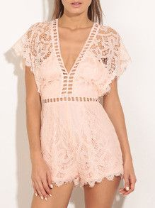 28a315ae0b0 Pink V-neck Batwing Sleeve Hollow Lace Jumpsuit