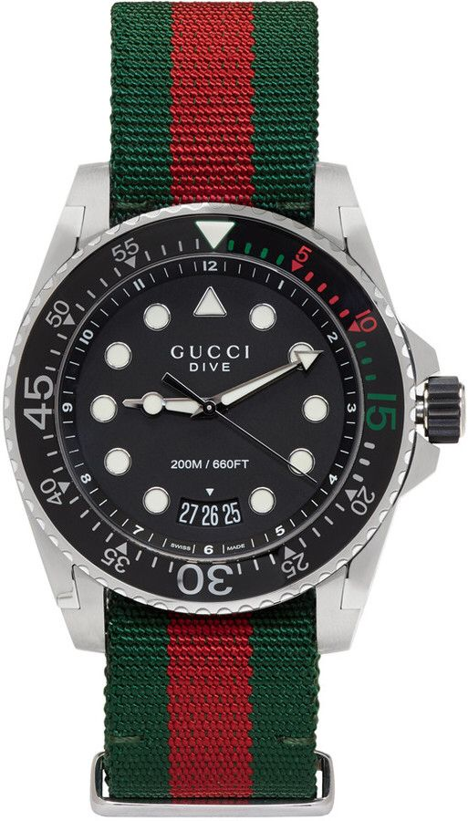8a86189399c Gucci Green   Red Web XL Dive Watch