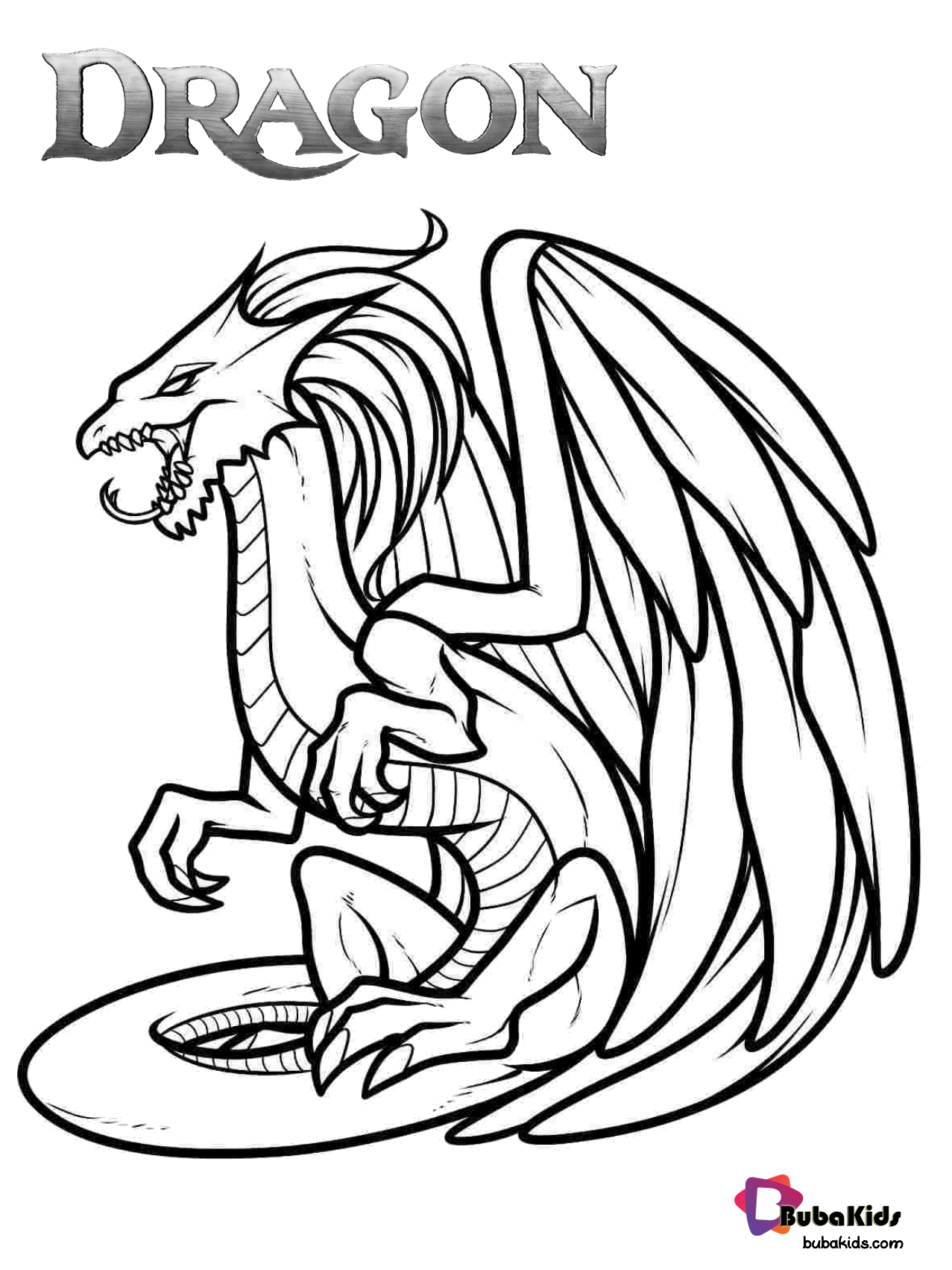 Dragon the mythical creature free coloring page. in 2020 ...