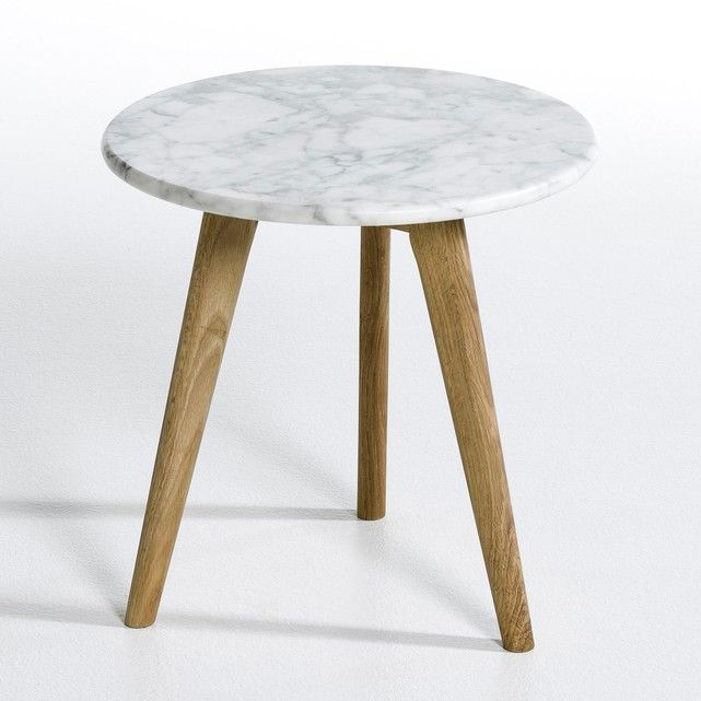 Priscille Marble Amp Oak Circular Side Table In 2019