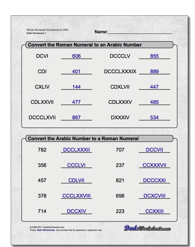 worksheet Roman Numerals Worksheets roman numeral worksheets math pinterest worksheets