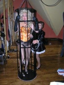 Submissive Transvestite Caged By Sissy Maid Forced