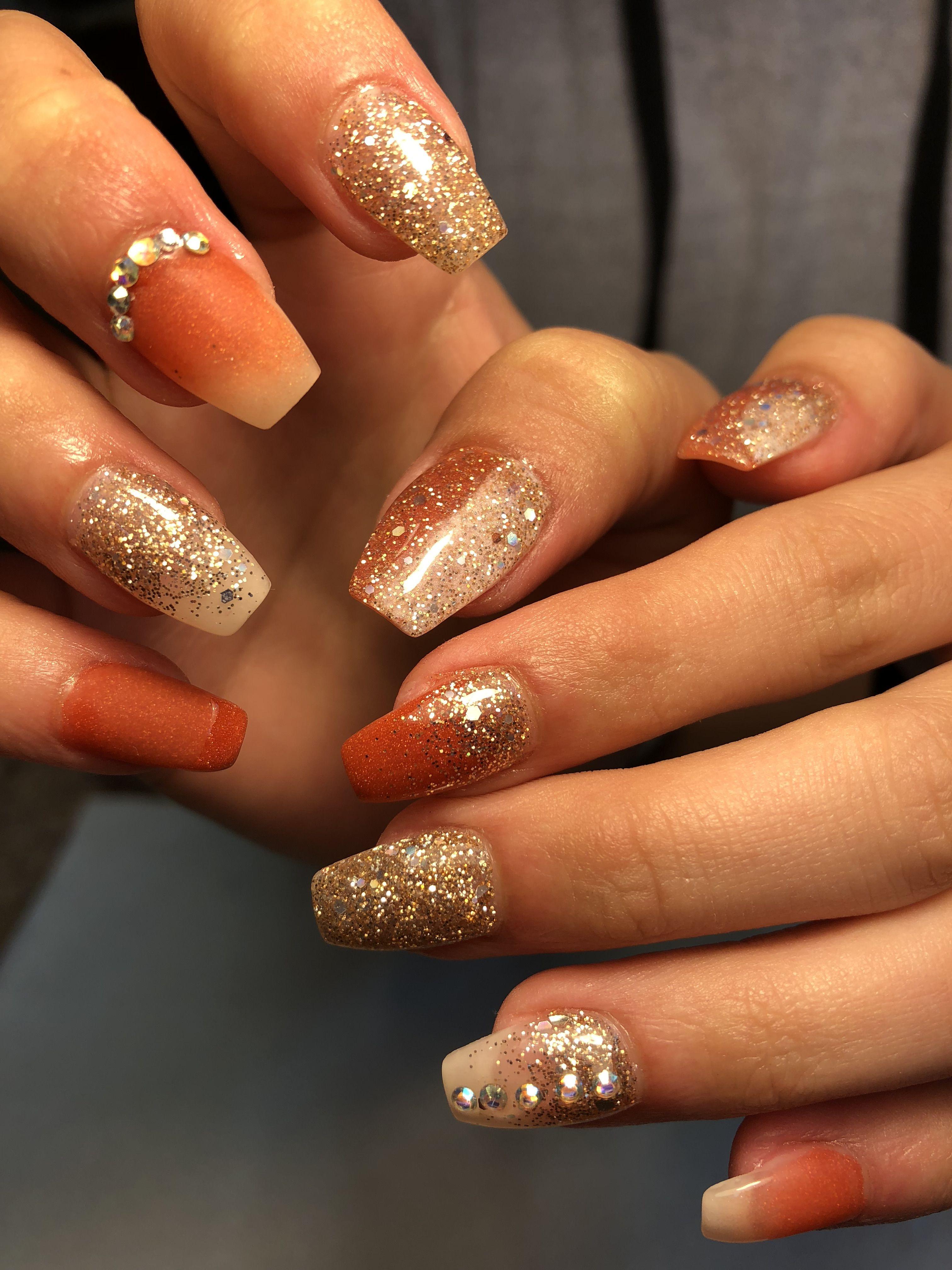 Burnt Orange And Gold Glitter Nails Pink Glitter Nails Gold Glitter Nails Orange Nail Designs