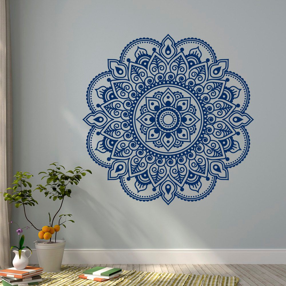 Wall Decal Vinyl Sticker Mandala Ornament Lotus Flower Yoga Indian - Yoga studio wall decals