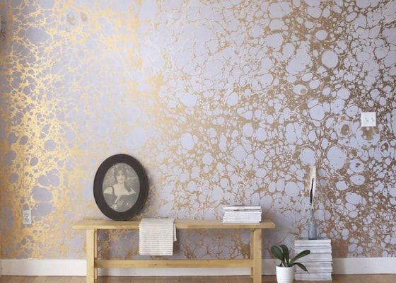 papier peint design rose doré contemporain salon appartement ...