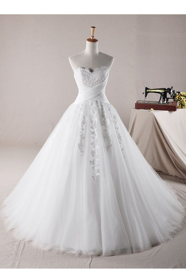 Glamorous A Line Sweetheart Embroidered And Beadings Tulle And Lace Wedding Dress - ebzj.com