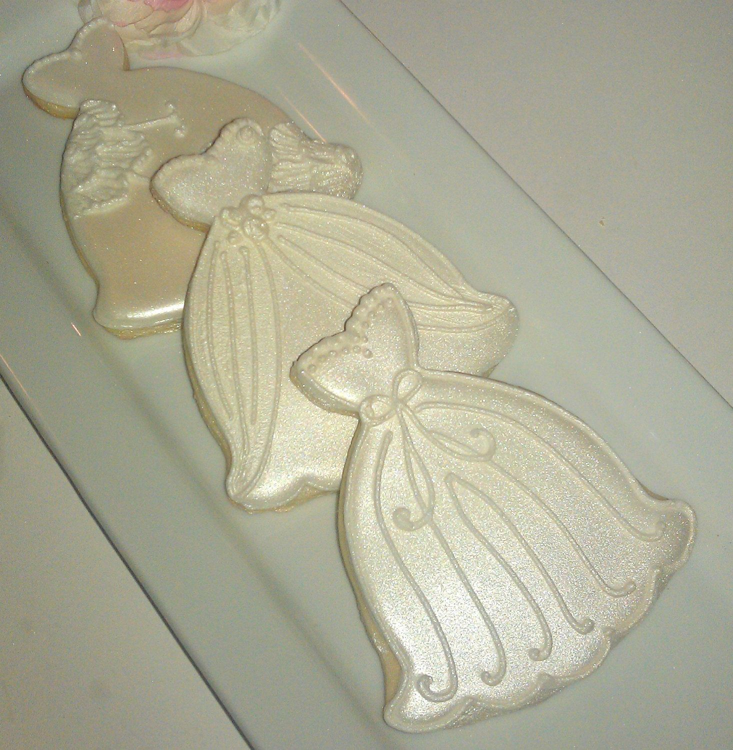 24 Decorated Sugar Cookies Shimmer Wedding Cake Dresses