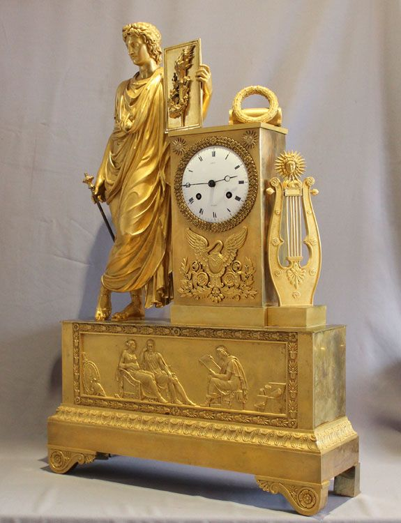 Antique and massive Royal Provenance ormolu French Empire clock in - Gavin Douglas Antiques