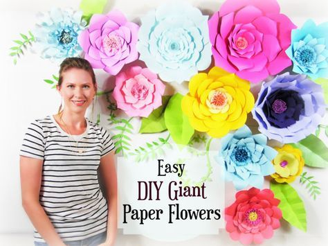 Giant Paper Flower Tutorial, Large Paper Flowers, Wedding Backdrop ...