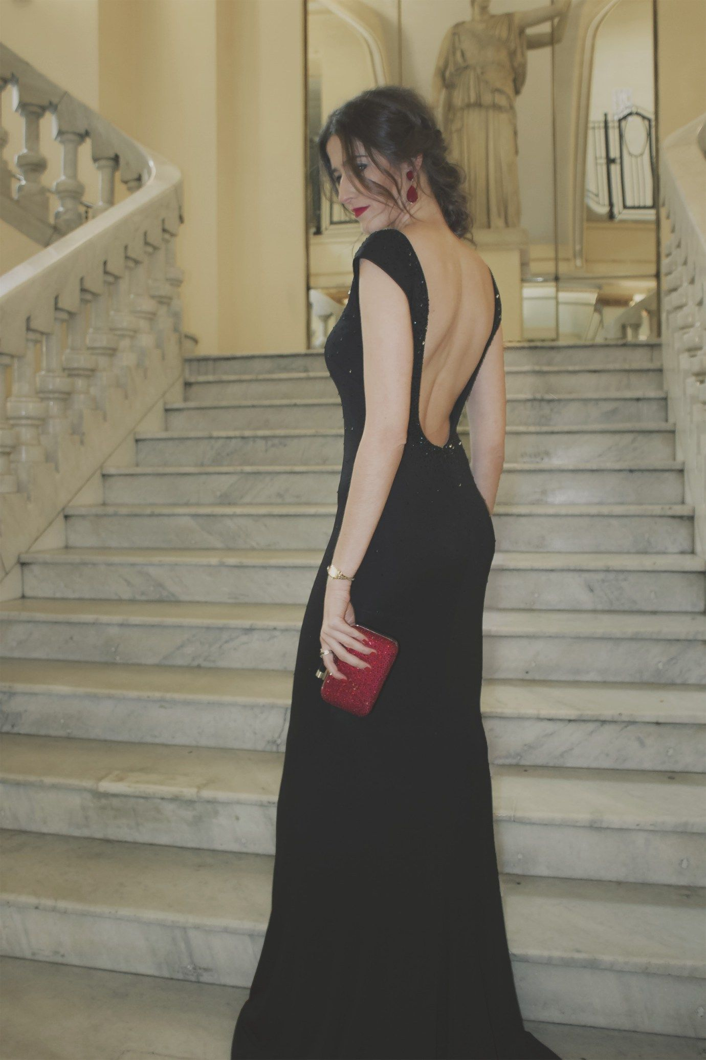 Vestido negro espalda descubierta Pronovias  7d7af6d62d4d