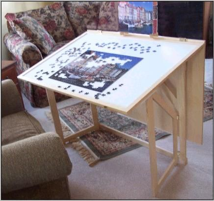 Unique, Attractive Hobby Table Features A Complete Jigsaw Puzzle Storage  System.