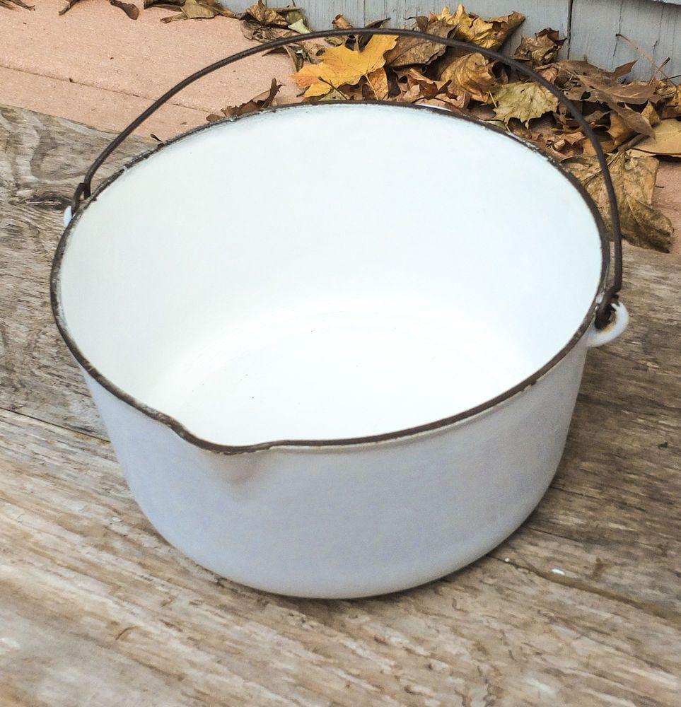 Antique Vollrath Pale Blue White Cast Iron Porcelain Enameled #10 ...