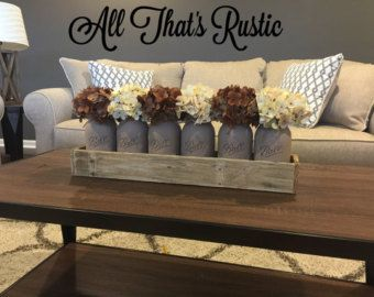 Mason Jar Decor Painted Mason Jars Rustic Home di AllThatsRustic