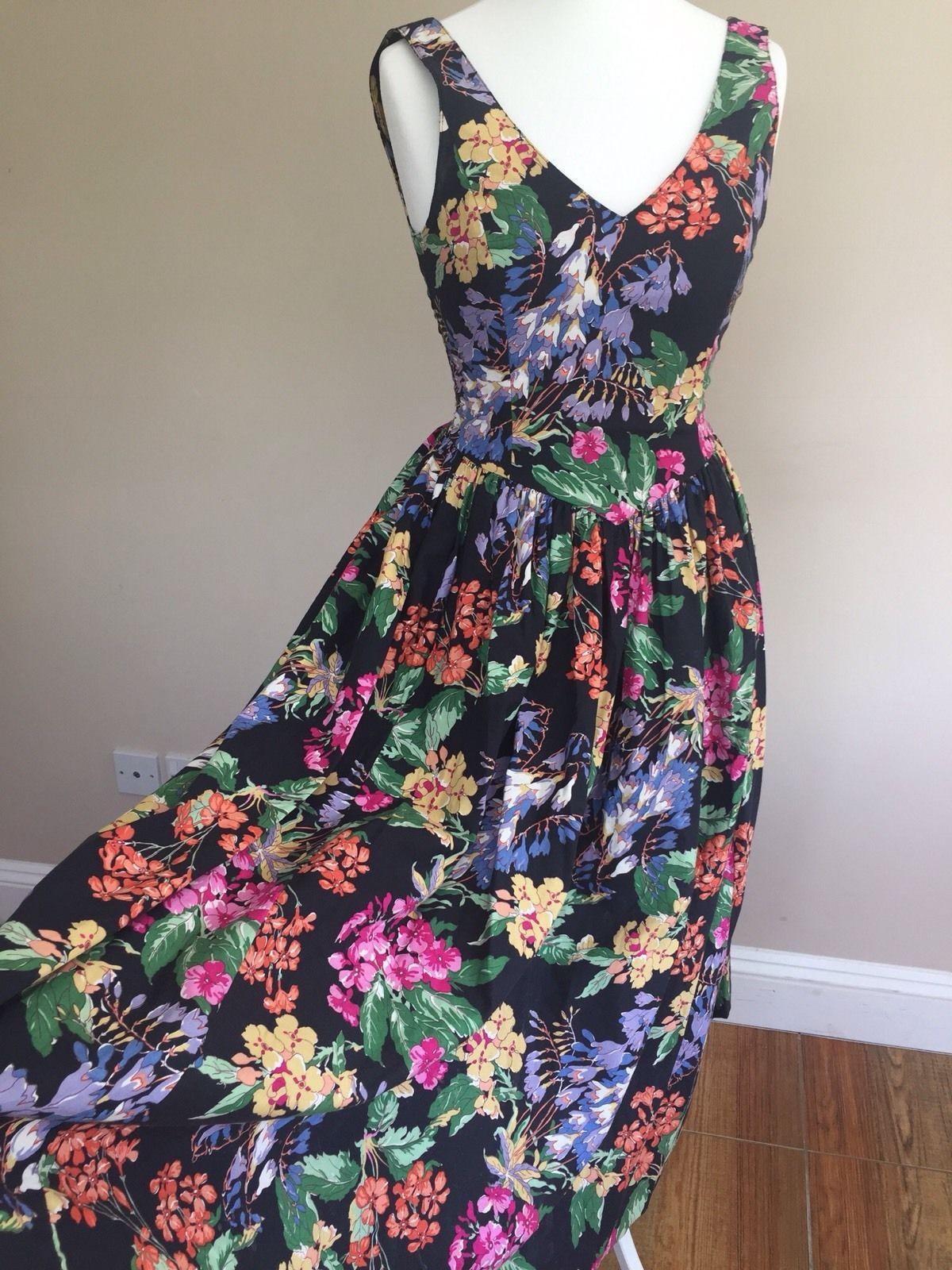3135a698d07c Vintage 80s LAURA ASHLEY Black Floral Tea Dress 1980s Sun Summer Size 8 10  12 | eBay