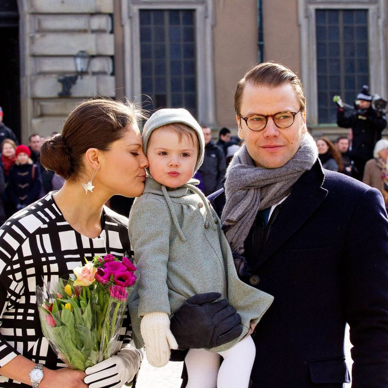 Princess Victoria, her husband prince Daniel and their little girl,  princess Estelle. Stockholm March 2014.