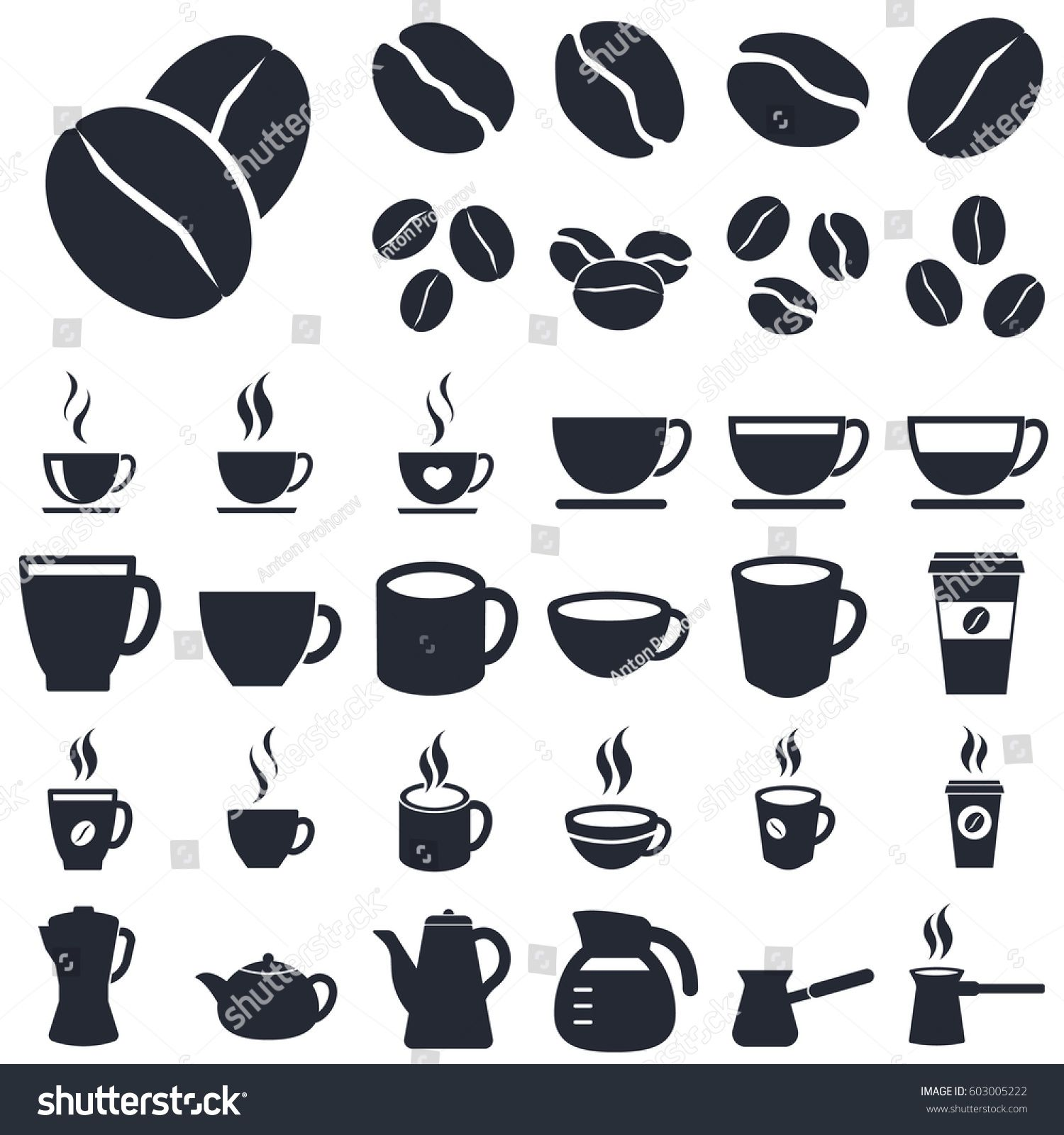 coffee cups and beans icons Sponsored , affiliate, cups
