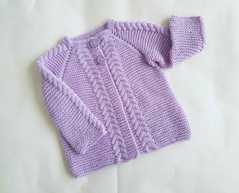 Wool knitted lilac baby cardigan size 6 to 12 month garter