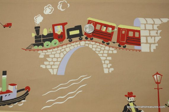 1940's Vintage Wallpaper Train Ice Cream Truck by HannahsTreasures, $18.00