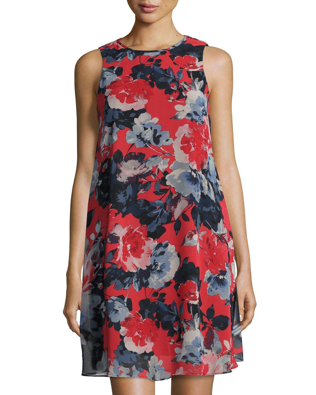 Taylor Floral-Print Trapeze Dress, Multi, Red Black