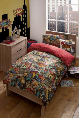 Super Hero Comic Book Cotton Rich Print Bed Set From Next