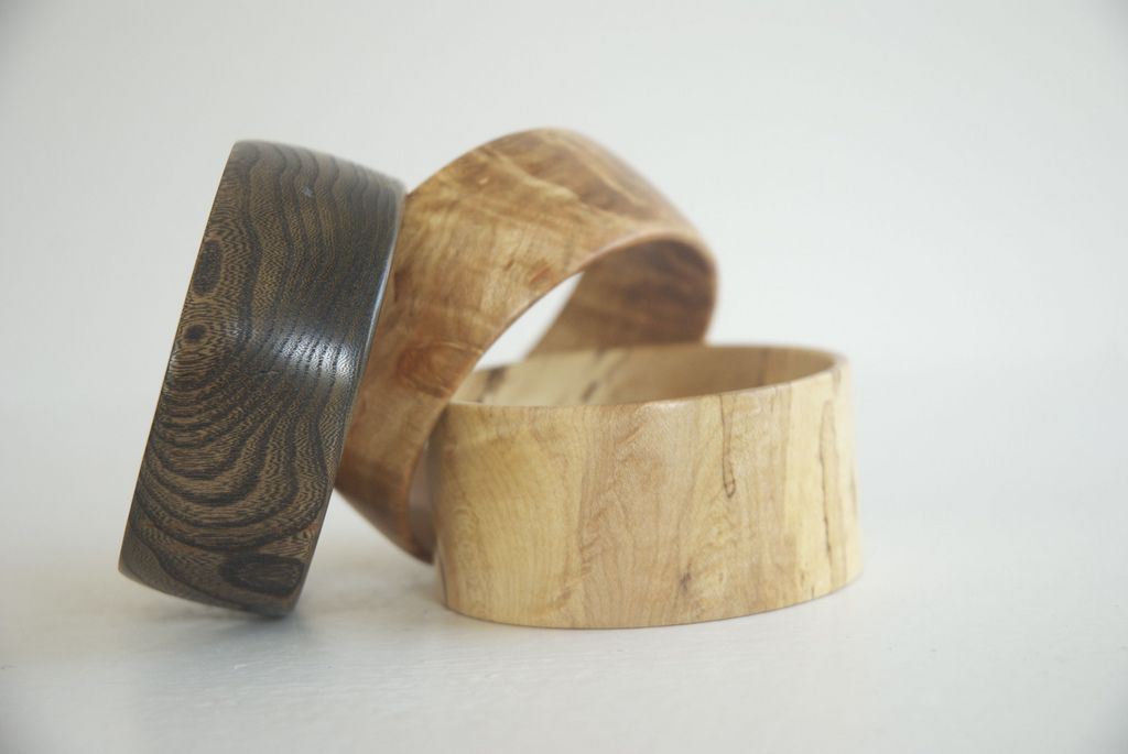 turned wood bracelets -- a bit thin, but hardwood