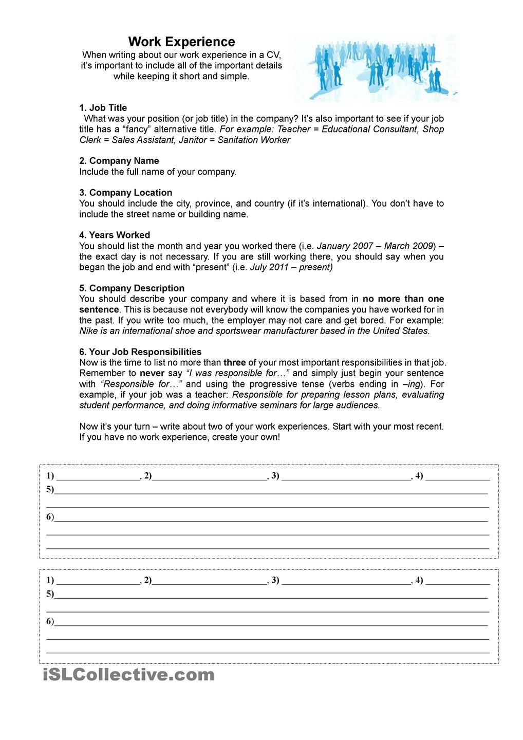 Work Experience For A Cv Resume Worksheet Template Word Problem Worksheets Work Experience