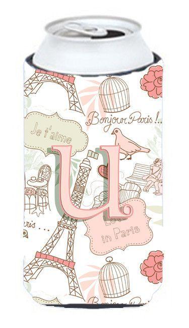 Letter U Love in Paris Pink Tall Boy Beverage Insulator Hugger CJ2002-UTBC
