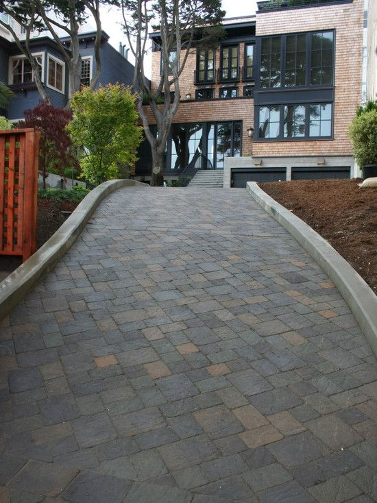 Contemporary Landscape Also Driveway Design Ideas With Bricks Floor And V  Shaped Pattern Also Modern