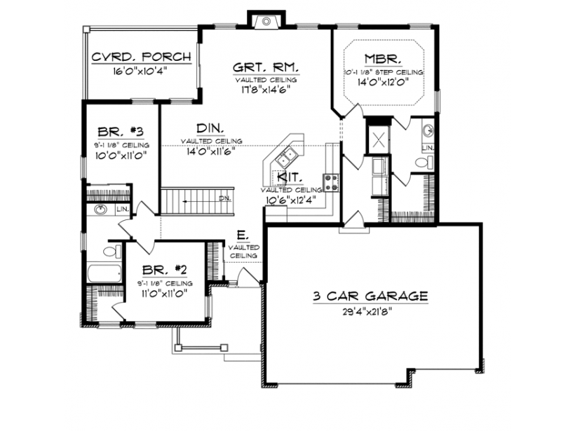 Traditional Style House Plan 3 Beds 2 Baths 1501 Sq/Ft