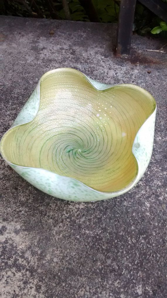 Decorative Blown Glass Bowls Vintage Green Blown Glass Bowl  Ruffledhappyvintagestudio