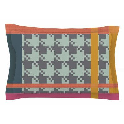 East Urban Home Houndstooth Color Block by Pellerina Design Pillow Sham Size: King