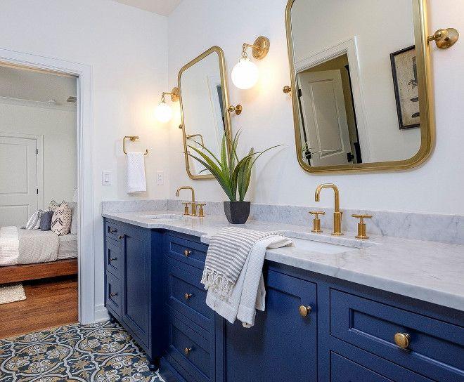 Blue Bathroom Vanity With Blue Cement Tile Blue Bathroom Vanity With Blue Cement Tile Ideas The Floor Blue Bathroom Vanity Blue Bathroom Light Blue Bathroom