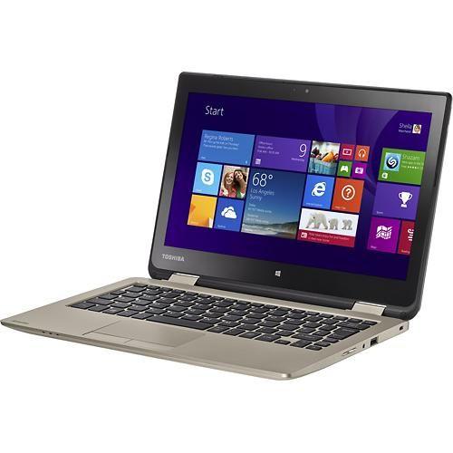 "Toshiba - Satellite Radius 2-in111.6"" Touch-Screen Laptop - Intel Celeron - 4GB Memory - 500GB Hard Drive - Satin Gold - Left"