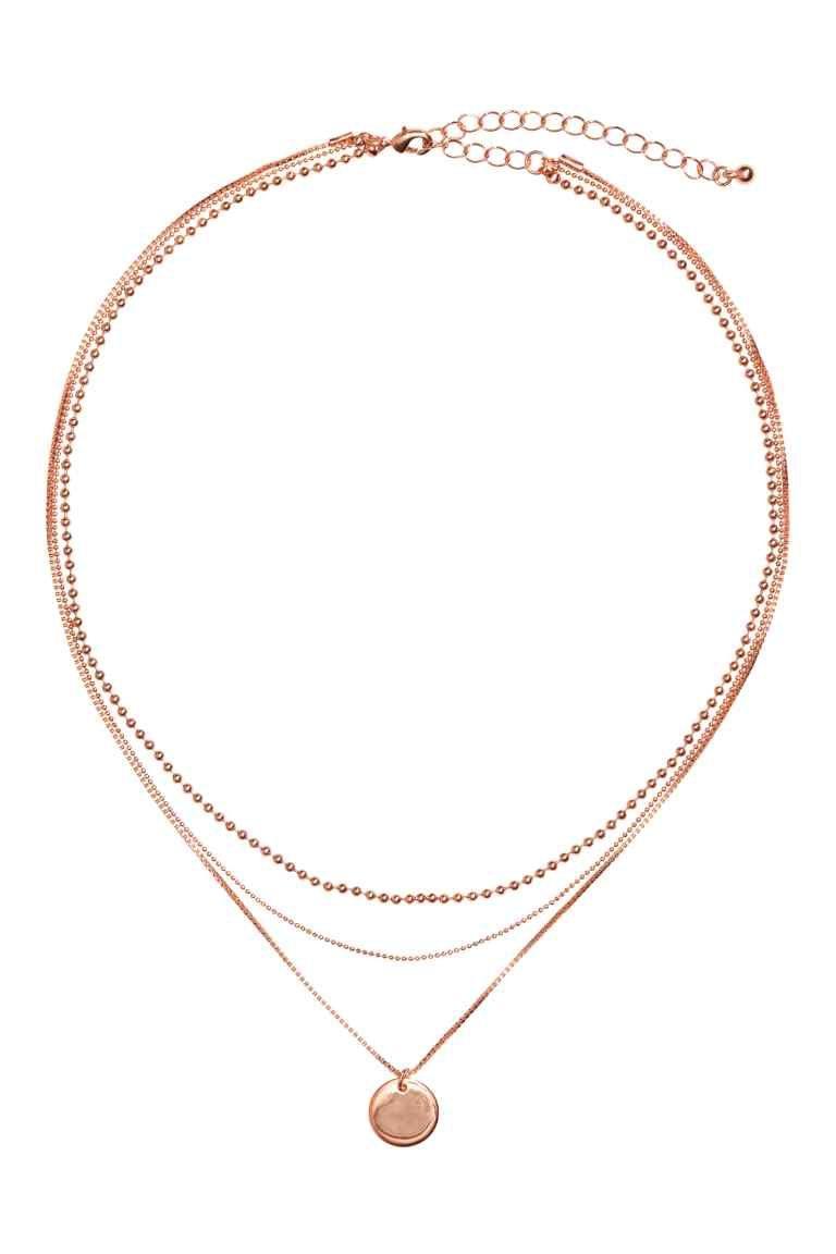 Colar de três voltas - Rosa dourado - SENHORA   H M PT 1   My Style ... 53f83e5c5e