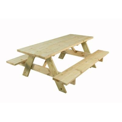 Home Depot 98 28 In X 72 Picnic Table Needs Varnish Picnic Table Picnic Table Kit Outdoor Essentials