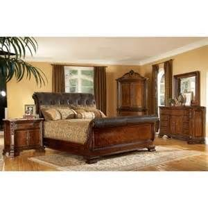King size 4 piece Wood/ Leather Sleigh Bedroom Set