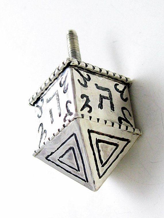 Sterling Silver dreidel for Hanukkah OOAK by SilverWoodStone, $145.00