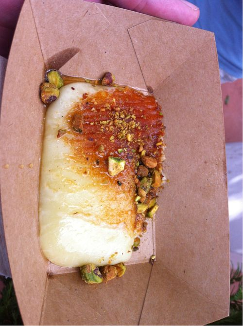 Griddled Greek cheese with honey and pistachios from the #Epcot Food and Wine Festival. #Disney