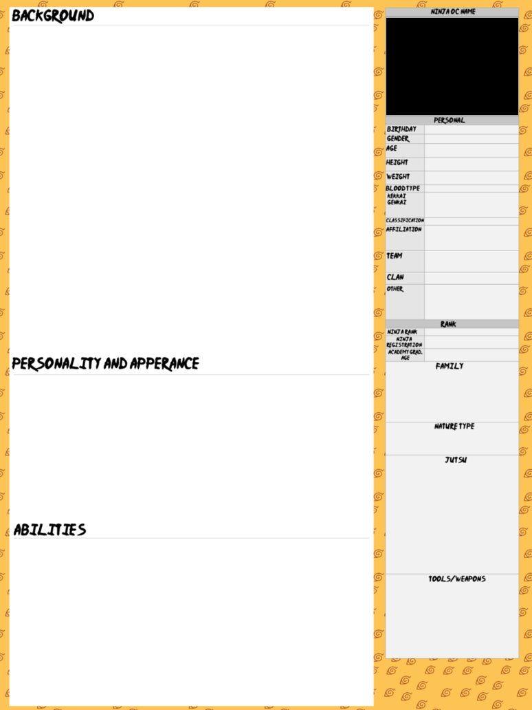 Naruto Ninja Oc Template By Inuyasharules6596 Deviantart Com On Deviantart Oc Template Templates Naruto