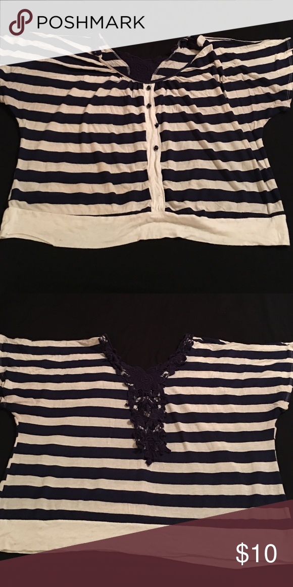 Blue and cream striped top Blue and cream striped top for women! Beautiful lace accents adorn the collar and the center of the back of the top. Dress up or down! Tops Blouses