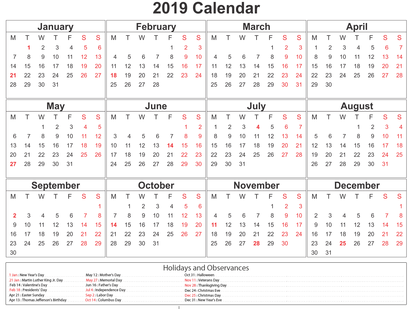 Free Printable Year Planner 2020 South Africa