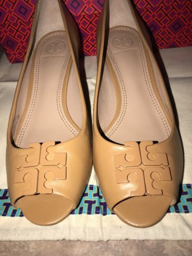 7445a7ef40cc NIB Tory Burch Lowell II Leather Peep Toe Wedge Pump Shoes 2.45 mm Blond  Size 7M